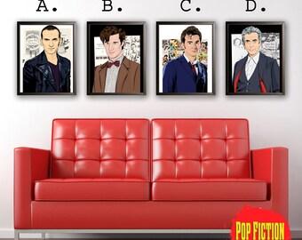 Doctor Who, Ninth Dr, Tenth Dr, Eleventh Dr, Twelfth Dr, Christopher Eccleston, Matt Smith, David Tennant, Peter Capaldi, Art, Mix-media,