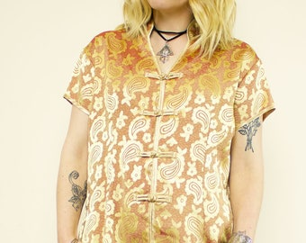 Vintage Gold Brocade Paisley Authentic Chinese Top