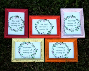 "5 Frames Set ""Flower clearing""- Wedding Frames, Shabby Chic Rustic Picture Frames"