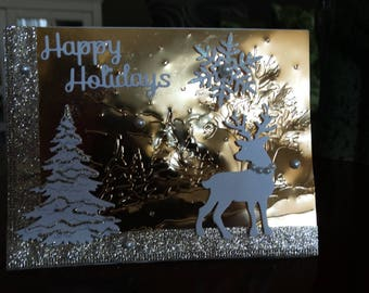 Happy Holidays Deer Winter Scene Christmas Card