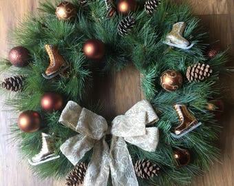 Artificial christmas wreath, gold xmas wreath, spruce wreath, bronze christmas wreath, fir cone wreath, christmas decoration,