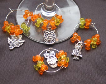 Set of 4 Silver Tone Owl Wine Glass Charms