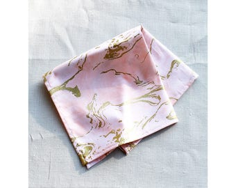 Marbled Napkin Blush and Gold Holiday Tabletop Table Linens Christmas Decor Pink and Gold