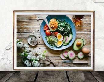 Breakfast, Brunch, Avocado, Meal, Digital Wall Art, Kitchen Art, Food, Meal Photo,