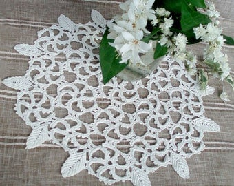 White hand knitted doily Vintage cotton napkins ring knitted crochet home decor accessories kitchen vintage lace country style Irish lace