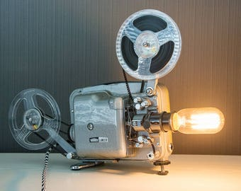 Upcycled Projector - Upcycled Projector Lamp - Steampunk Lamp - Edison Lamp - Upcycled Lamp