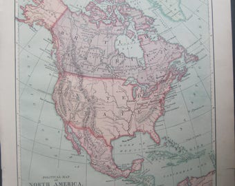 1882-North America, Color Antique, relief map of North America by Harper's- Lovely 135 year old, vintage map of North America- Home Décor