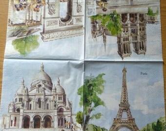 Monuments of Paris paper towel