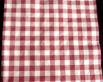 Red and white checkered napkin