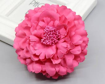 2 Hot Pink Peony Big Flower Hair Clips Brooches 10cm