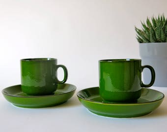Set of 2 cups and saucers - Scandic green - Thomas  - West Germany - 1970s - german vintage - gift for her - tea for two - R0144