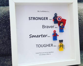 Handmade personalised frame, Fathers day, birthday, dad, page boy. wedding, brother, uncle, grandfather, step dad. Marvel, superhero lego.