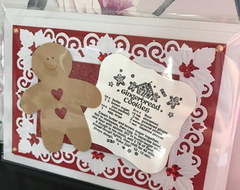 Handmade christmas gingerbread recipe greeting card