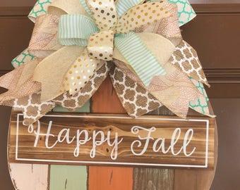 Fall wreath. Fall wreath for front door. Front door wreath. Door hanger. Pumpkin door hanger. Pumpkin wreath. Autumn wreath. Fall decor.