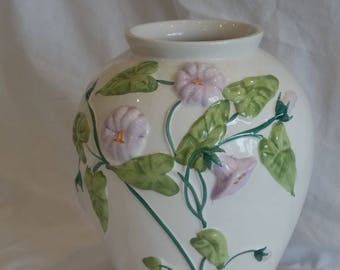 French Relief Vase. Ivy And Flower Design
