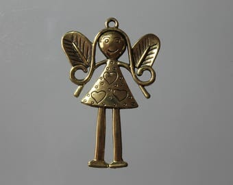 1 pendant gold metal large fairy - charm, jewelry, decorations, charm