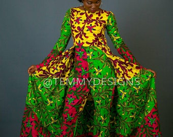 African jumpsuit with cape, African print, African Ankara, African clothing, women clothing, jumpsuit