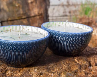 Green Tea Lemongrass Soy Candle in Reclaimed Ceramic Bowl