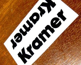 Kramer Guitar waterslide Headstock Decal Black Strat Kramer Headstock decal