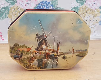 Vintage Thorne's Toffee Tin with an Image of a Dutch Windmill, Holland, Netherlands.