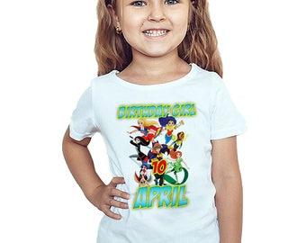 Super Hero Girls Birthday T-Shirt Custom Name Age Super Hero Girls Birthday Boy Personalized Shirt
