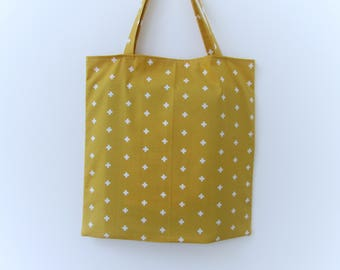 Foldaway shopping bag with pouch, mustard shopper bag, reusable bag, handbag shopping bag, mustard yellow bag