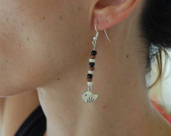Bird and wooden bead earrings, nickel free