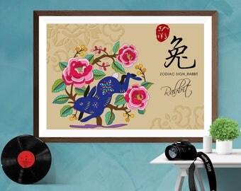 Chinese Zodiac Rabbit Year Of The Rabbit Asian Art Print Poster Home decor  Canvas / Silk / Matt A6, A5 ,A4 , A3 , A2