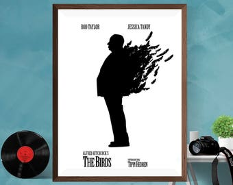 The Birds American Horror-thriller film by Alfred Hitchcock Minimalist Movie Artwork Minimal WallArt Print Poster Matt/Silk/ Canvas A4/A3/A2