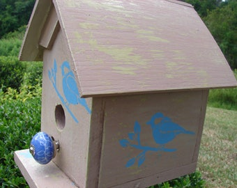 Dee-Dee's House | Birdhouse | Outdoor | Stencils feat. Chickadee | Rustic | Antiqued | Ceramic Perch