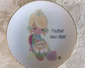 Vintage Precious Moments Plate Dish Mother Sew Dear 1984