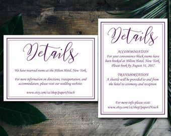 Plum Purple Modern Simple Elegant Wedding Details Template, Wedding Details Card Printable, Instant Download, Editable PDF