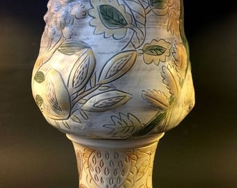 Tall Urn with Extravagant Botanicals // Serving Piece // Conversation Piece