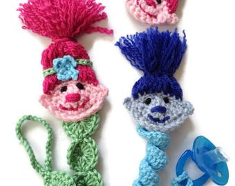 Troll pacifier clip, Poppy binky clip, Branch pacifier leash, crochet paci clip, handmade troll soother clip, baby shower gift
