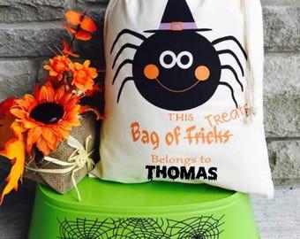 Personalized Halloween Sack, Spider Halloween Bag, Spider Treat Bag, Halloween Bag, Trick or Treat Bag, Halloween Costume, Candy Bag
