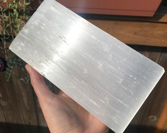 2.98lbs Selenite Brick, Selenite Slab, Huge Selenite, Large Selenite, Selenite, Natural a crystal, polished crystal, large cystal, white