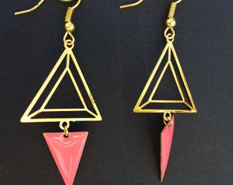 Earrings gold and pink by lesbijouxdelilie