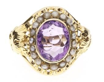 1930's 14K Amethyst Pearls Ring