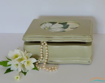 Jewelry Box, Hand-painted, Vintage, Small wooden hand painted jewelry box.  Flowers and romance.