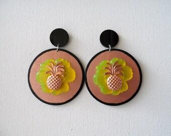 Pineapple hand painted wood earrings