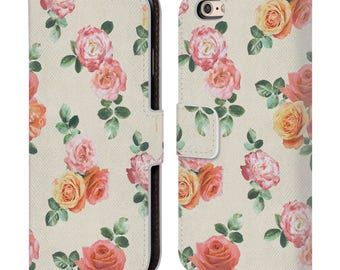 Leather iPhone Wallet Case,Floral Phone Case,Floral Flip Case,Wallet Case,iPhone 5c/5/5S/6/6S/7 Plus,Gift for Women,Gift for Her-18