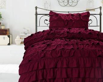 Egyptian Cotton Burgundy Ruffle Duvet Cover 1000 Thread Count