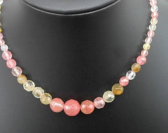 "Watermelon tourmaline necklace 17"" or 18.5"""