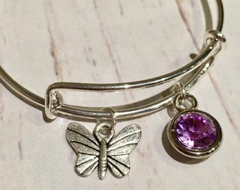Girls bangle, Butterfly charm bangle, gem charm bangle, girls gift, butterfly bracelet, butterfly jewellery, charm bracelet, girls jewelry,