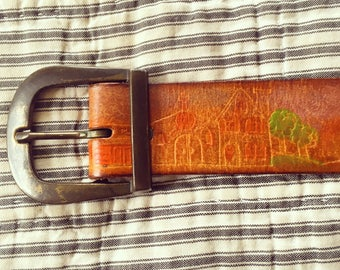 Vintage Etched Leather Belt