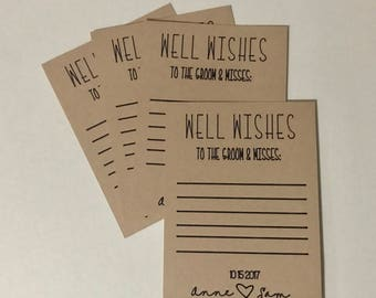 Wedding Shower Cards, Shower Wishes, Well Wishes Card, Wedding Well Wishes, Customized Well Wishes Advise Card