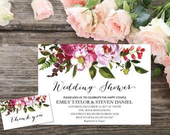 Wedding shower invitation, Printable Wedding Shower Invitation, Couples Shower Invite, flower wedding shower invitation instant download, B3