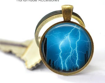 LIGHTENING STRIKE Key Ring • Extreme Weather • Blue Sky • Storm at Night • Lightening at Night • Gift Under 20 • Made in Australia (K479)