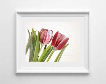 ORIGINAL watercolor painting, Pink tulip watercolor, Pink flowers, Tulip watercolor, Gift for woman, Garden flowers, Flower painting