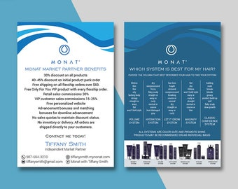 Monat Market Partner Benefits, Monat Systems, Custom Monat Hair Care Card, Fast Free Personalization, Monat Business Cards MN05